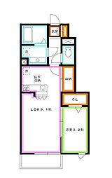 JR中央本線 吉祥寺駅 バス14分 中原3下車 徒歩3分の賃貸アパート 1階1LDKの間取り