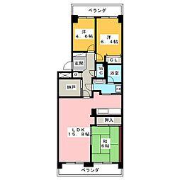 日進パークマンション 1404号室[14階]の間取り