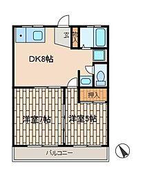大野台郵便局マンション[2階]の間取り