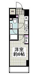 京急本線 日ノ出町駅 徒歩2分の賃貸マンション 5階1Kの間取り