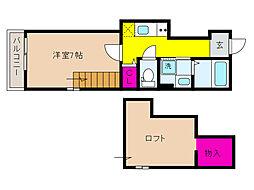 JR東海道・山陽本線 住吉駅 徒歩3分の賃貸アパート 2階1SKの間取り