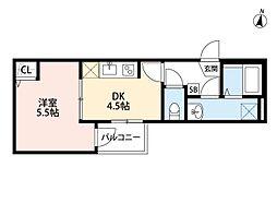 JR埼京線 与野本町駅 徒歩12分の賃貸アパート 3階1DKの間取り