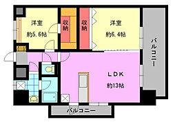 デザイナープリンセス中津口[10階]の間取り