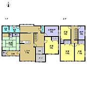 間取図です。台所と居間は繋げて17帖のLDKになり、水廻りも全て交換済み。各部屋に収納があるので、部屋を広く使える間取りになっています。