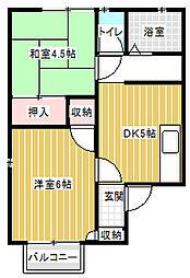 B-Heart takara-machi[201号室]の間取り