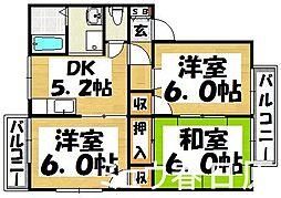 福岡県太宰府市国分1丁目の賃貸アパートの間取り