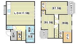 [一戸建] 兵庫県姫路市上大野3丁目 の賃貸【/】の間取り