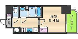 プレサンス梅田北アーリー 4階1Kの間取り