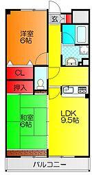 サンシャイン田中 3階2LDKの間取り