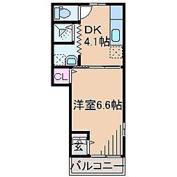 ダイユー42番館 2階1DKの間取り