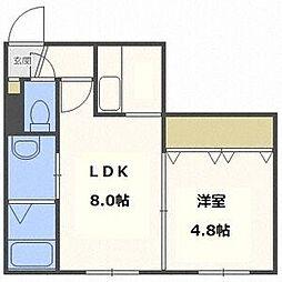 ディライトN26(旧フレンズII) 3階1LDKの間取り