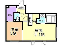 コートヴィラ札幌 3階1LDKの間取り