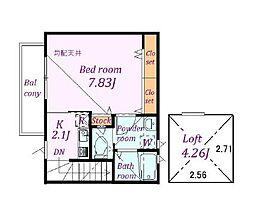 JR南武線 西国立駅 徒歩13分の賃貸アパート 2階1Kの間取り