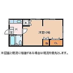 波多腰アパート[203号室]の間取り