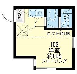 神奈川県川崎市川崎区四谷下町の賃貸アパートの間取り