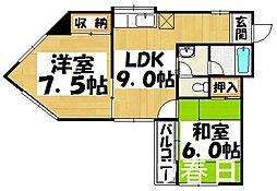 福岡県春日市岡本3丁目の賃貸アパートの間取り