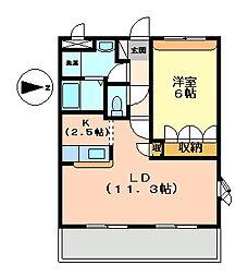 兵庫県姫路市網干区坂出の賃貸アパートの間取り
