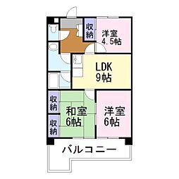 兵庫県加古川市平岡町一色東2丁目の賃貸マンションの間取り