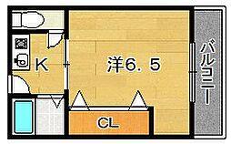 大阪府茨木市駅前2丁目の賃貸アパートの間取り
