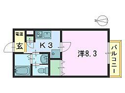 奈良県奈良市三条添川町の賃貸アパートの間取り
