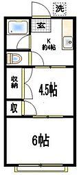 神奈川県横浜市保土ケ谷区上星川3丁目の賃貸アパートの間取り