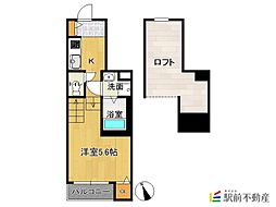 JR香椎線 香椎駅 徒歩5分の賃貸アパート 2階1Kの間取り