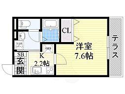 JR大阪環状線 玉造駅 徒歩2分の賃貸アパート 1階1Kの間取り