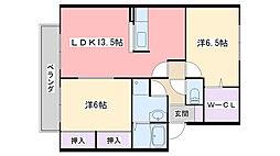 福岡県福岡市西区生の松原3丁目の賃貸アパートの間取り