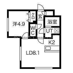 パインハート中の島  (仮)中の島1-2MS 3階1LDKの間取り