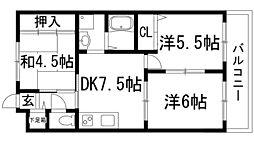 大阪府池田市五月丘4丁目の賃貸マンションの間取り