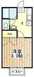 神奈川県伊勢原市石田の賃貸アパートの間取り