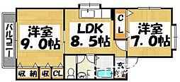 福岡県大野城市川久保3丁目の賃貸アパートの間取り
