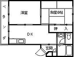 ハイツ室川2[102号室]の間取り