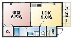 ERCity's nishinada 2階1LDKの間取り