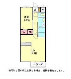 愛知県一宮市森本4丁目の賃貸アパートの間取り
