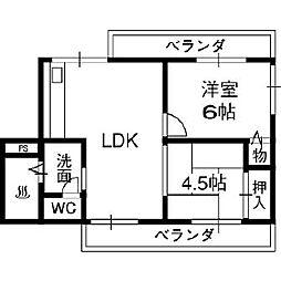 VIVI山本(ビビ山本)[3階]の間取り