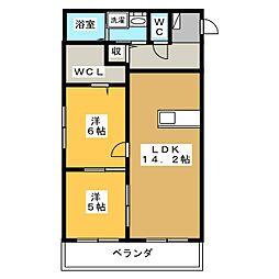 Cuarto Gishou[1階]の間取り
