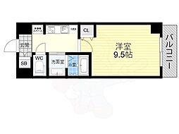 近鉄難波線 近鉄日本橋駅 徒歩6分の賃貸マンション 3階1Kの間取り