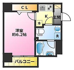 SHOKEN Residence新丸子 7階1Kの間取り