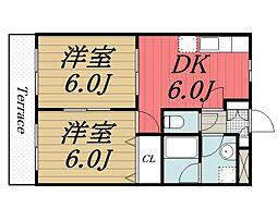 千葉県千葉市若葉区みつわ台4丁目の賃貸アパートの間取り