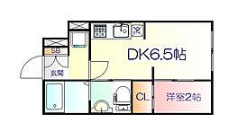JR仙山線 東北福祉大前駅 徒歩18分の賃貸マンション 2階1DKの間取り
