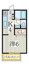 ユーハイツC[2階]の間取り