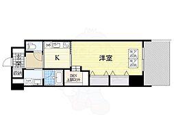 JR大阪環状線 野田駅 徒歩7分の賃貸マンション 9階1Kの間取り