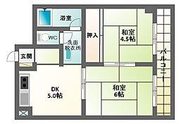 コーポ角田[4階]の間取り