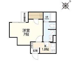 東京メトロ副都心線 北参道駅 徒歩4分の賃貸マンション 3階1Kの間取り