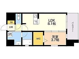 LANDIC K320 11階1LDKの間取り