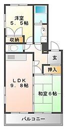 シーワン江坂[2階]の間取り