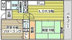 大阪府大阪市東淀川区小松3丁目の賃貸マンションの間取り