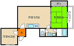 インペリアル西花池[3-B号室]の間取り