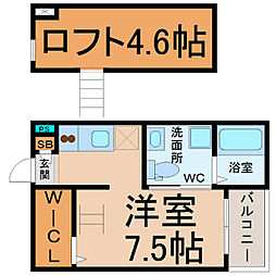 愛知県名古屋市瑞穂区白龍町2丁目の賃貸アパートの間取り